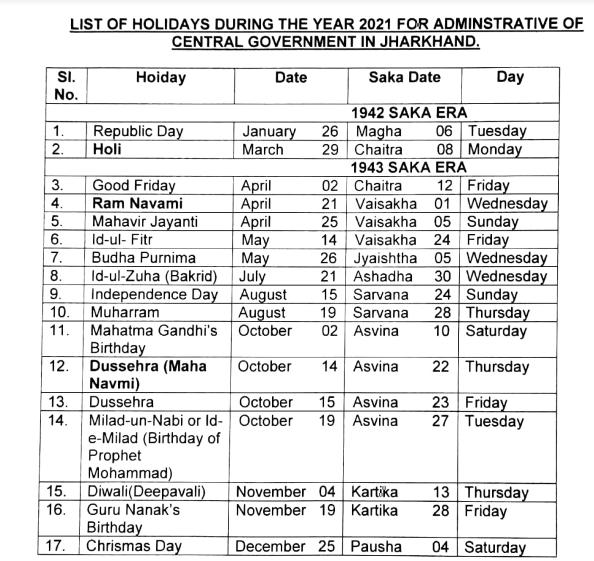 Christmas Eve Government Holiday 2021 Home Cca Jharkhand